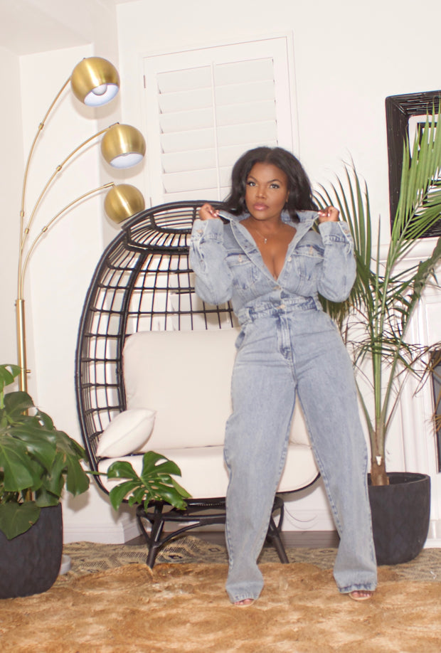 Wide leg denim jumpsuit