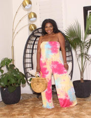 Tie dye tube top jumpsuit