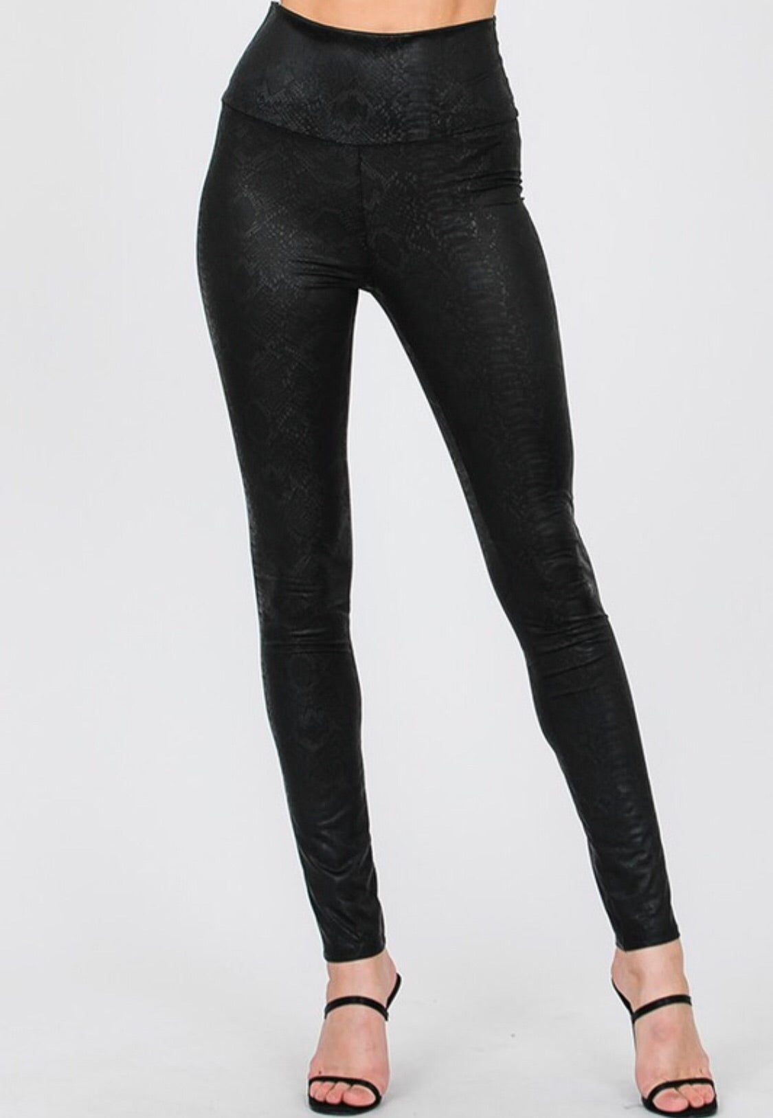 Textured Snake Skin Print Leggings