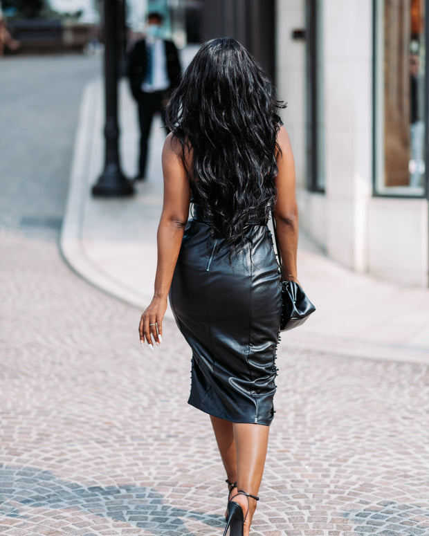 Leather tube dress with beaded details