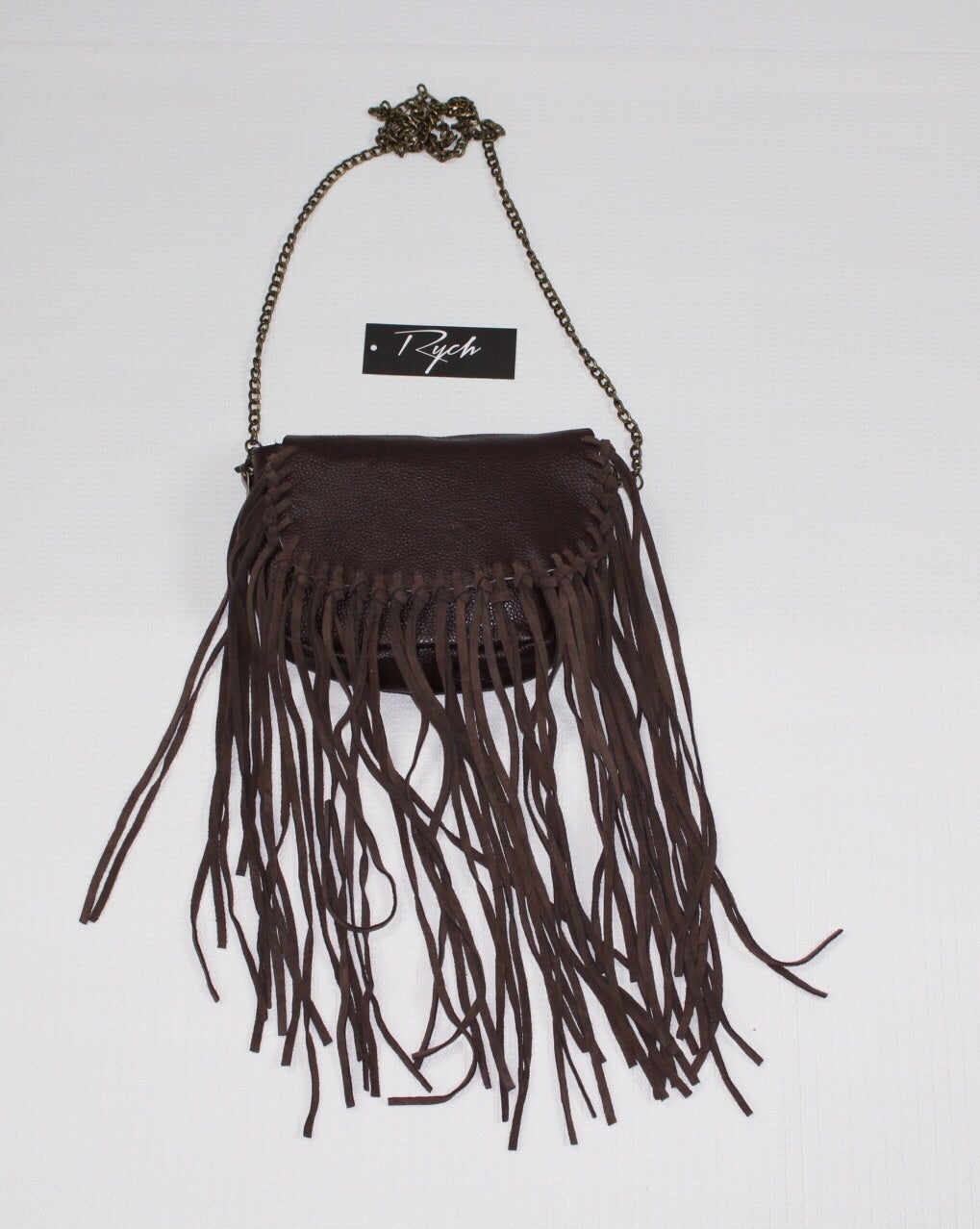 Brown Fringe Leather strap across bag