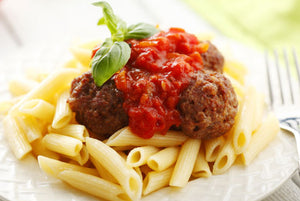 Ground Turkey Meatballs (93/7) and Whole Wheat Penne Pasta