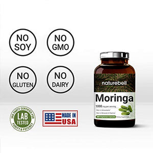 Moringa Capsules, 1000mg Per Serving, 200 Counts, Green Superfood Supplement, Strong Antioxidant to Repair, Protect, Nurture Your Skin Cells and Support Immune System, Non-GMO.