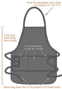 BBQ Grill Apron - Dad. The Man. The Myth. The Legend - Funny Apron For Dad - 1 Size Fits All Chef Apron Poly/Cotton 4 Utility Pockets, Adjustable Neck and Extra Long Waist Ties Black Apron