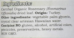 Rosemary Alcohol-Free Liquid Extract, Organic Rosemary (Rosmarinus officinalis) Dried Leaf Glycerite 2 oz 2 Fl Oz (Pack of 1)