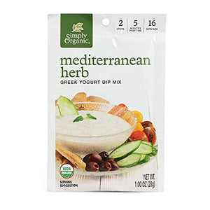 Simply Organic Mediterranean Herb Greek Yogurt Dip Mix, Certified Organic, Vegetarian | 1 oz | Pack of 3