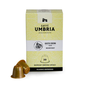 Caffe Umbria, Gusto Crema Blend, Nespresso compatible pods, Medium Brend, Box of 20 Medium Roast 20 Pods