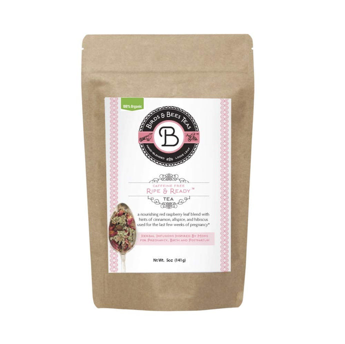 Birds & Bees Teas - Red Raspberry Leaf Tea, Ripe & Ready Organic Third Trimester Tea to Prepare Your Body for Labor and Birth - 40 Servings, 5.0 oz Bag 5.0 Ounce, (~40 servings)