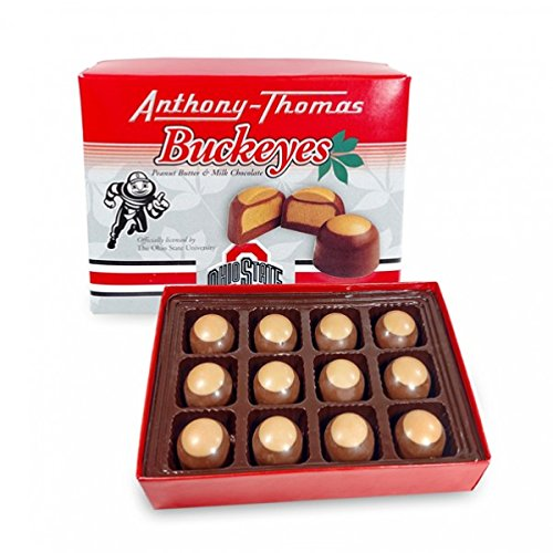 Anthony Thomas Peanut Butter & Milk Chocolate Buckeyes (12 Count) Ohio State University Themed Box 12 Buckeyes