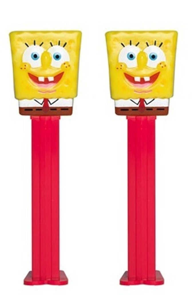 Nickelodeon Spongebob Squarepants PEZ Dispenser with Candy Refills, Pack of 2 (Spongebob Squarepants)