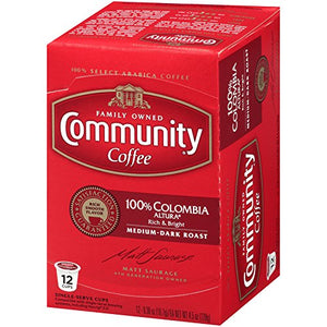 Community Coffee Colombia Altura Medium Dark Roast Single Serve, 36 Ct Box, Compatible with Keurig 2.0 K Cup Brewers, Medium Full Body Rich Bright Taste, 100% Arabica Coffee Beans Columbia Altura 36 Count