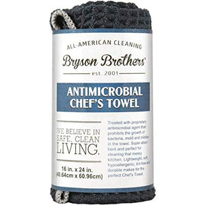 "Bryson Brothers 16"" x 24"" Antimicrobial Chef's Towel - Lightweight, Hypoallergenic, Lint Free Towel for Cleaning"