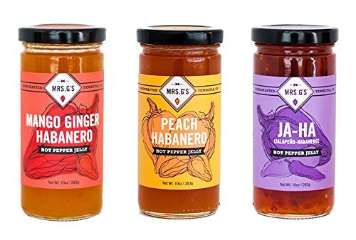 Mrs. G's Hot Pepper Jelly 3-Pack: Mango Ginger Habanero, Peach Habanero and Jalapeno Habanero Jellies - Locally sourced and packaged in Southern California mango, ginger, habanero, peach, jalapeno