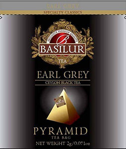 Basilur, Earl Grey Tea, Pure Ceylon Black Tea, Pyramid Tea Bags, Biodegradable Luxury Tea bags for Hotels, Restaurants, Cafes and Tea lovers, Ultra-Premium Tea Sachets in Box, 50 Piece