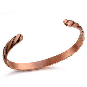 Copper Bracelet 99.9% Copper Cuff Bracelet 6.5inches Adjustable 6pcs Magnets for Arthritis(Twist) Twist Style