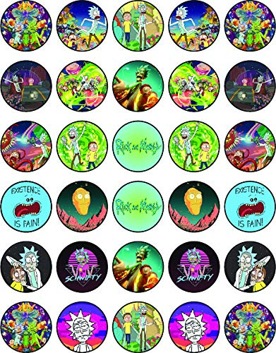 30 x Edible Cupcake Toppers – Rick_and_Morty Themed Collection of Edible Cake Decorations | Uncut Edible on Wafer Sheet