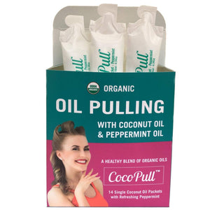 CocoPull - Organic Oil Pulling with Coconut Oil and Peppermint Oil for Healthy Teeth and Gums and Bad Breath Remedy. Natural Teeth Whitening with 14 Unrefined Oil Pulling Packets. 14 day
