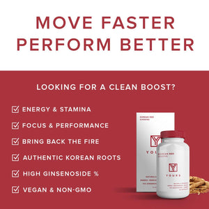 Authentic Korean Red Panax Ginseng - 10% Ginsenosides - Organic 750mg Korean Red Ginseng - 30 Day Supply - Potent Red Ginseng Boosts Energy & Focus - Korean Ginseng Amplifies Cognition
