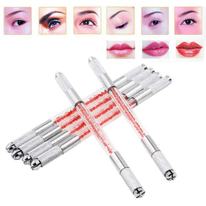Microblading Pen - Tazay 3pcs Dual-head Manual Tattoo Fog Eyebrow Microblading Pen Kit Needle Tip Holder Tool with Lock-Pin Tech & Ergonomic Grip Eye Browa Pen for Makeup Permanent Supplies (3pcs)