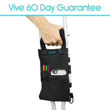 Vive Crutch Pouch - Bag with Foam Hand Grip Pads - Tote for Broken Leg Crutches with Storage Pockets - Ergonomic, Orthopedic, Lightweight Carry On - Medical Forearm Crutch Accessories (Black) Black