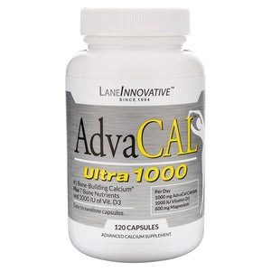 Lane Innovative - AdvaCAL Ultra 1000, Bone Building Calcium, Including Vitamin D3 and Magnesium, Easy Absorption (120 Capsules) 120 Caps