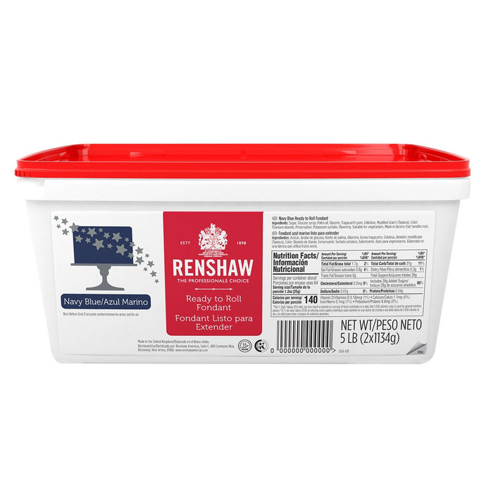 Ready to Roll Fondant Icing Navy Blue 5lb Pail by Renshaw