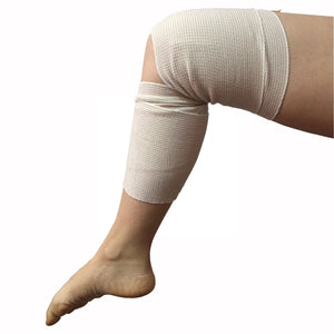 ZJCCTO Cotton Elastic Bandage 4 Pack. 6 Inches Wide x (13 to 15 ft. when stretched) with Hook and Loop on Both Ends, Latex Free Bandage. Perfect Compression Wrap for Varicose Veins,Sprained Ankle