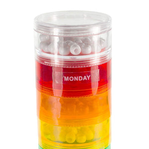GMS 7 Stack-able Pill Organizers with 2 Lids and 7 Day Adhesive Labels for Organizing Vitamins, Supplements, and Medications (Medium Rainbow, 7 3/4 Inches in Height 2 Inches in Diameter) Medium