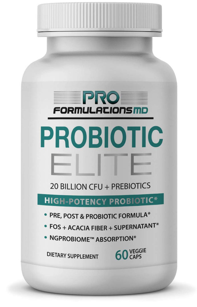 Probiotic Elite – Synbiotic with FOS + Supernatant – 60 vcaps – Pre, Post & Probiotic Digestive Support with 20 Billion CFU, FOS, Acacia Fiber & Freeze–Dried Culture Powder – No Refrigeration Needed