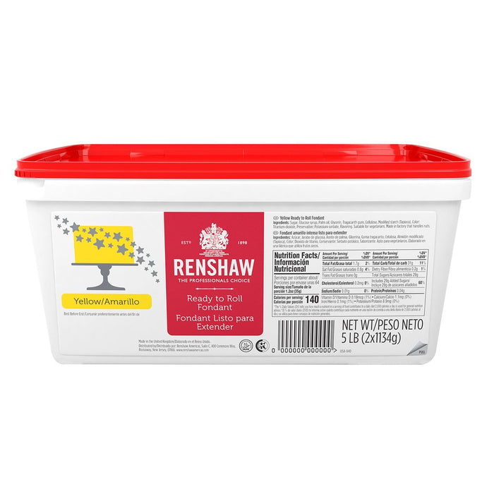 Ready to Roll Fondant Icing Yellow 5lb Pail by Renshaw