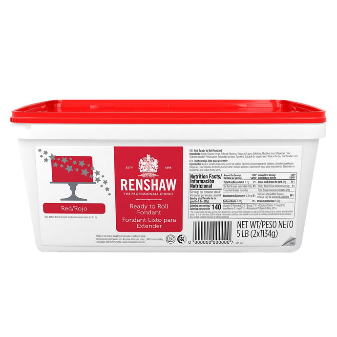 Ready to Roll Fondant Icing Red 5lb Pail by Renshaw