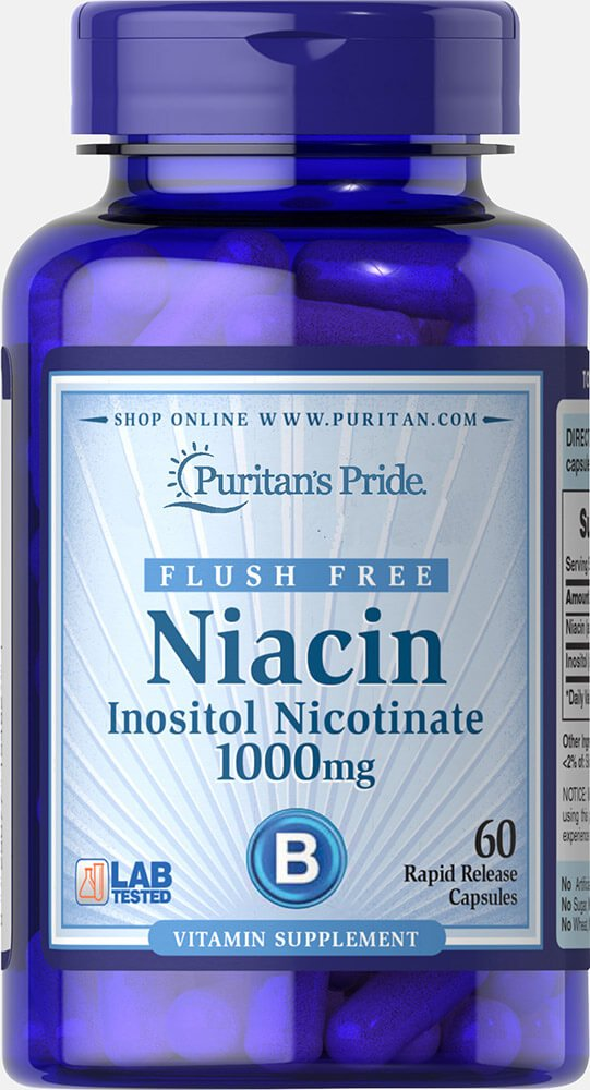 Puritans Pride Flush Free Niacin Inositol Nicotinate 1000 Mg-60 Capsules, 60 Count