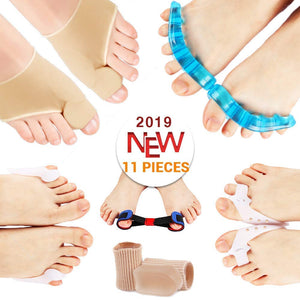 PediGoo Bunion Corrector Pain Relief Deluxe Kit - Fast Bunion Sleeves Pad with Gel, Pedicure Toe Separators Spacers, Exercise Toe Strap Straightener - 11 Pieces - One Size Fits All