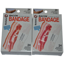 BioSwiss Novelty Bandages Self-Adhesive Funny First Aid, Novelty Gag Gift (2 boxes of 24 bandages) (Bacon)