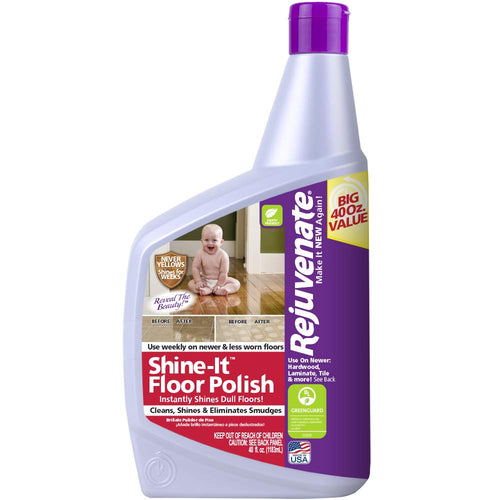 Rejuvenate Shine-It Floor Polish 40oz Renew and Protect Newer Hardwood Laminate Stone Vinyl Ceramic Tile Terrazzo Linoleum and Other Sealed Hard Flooring Surfaces