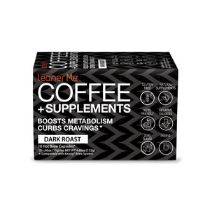 LeanerMe Coffee - Coffee + Supplements that Keeps Your Coffee Lean and Healthy - 10 Ct. Artisanal Coffee Pods, Compatible with 2.0 K-Cup Brewers (Dark Roast) Dark Roast