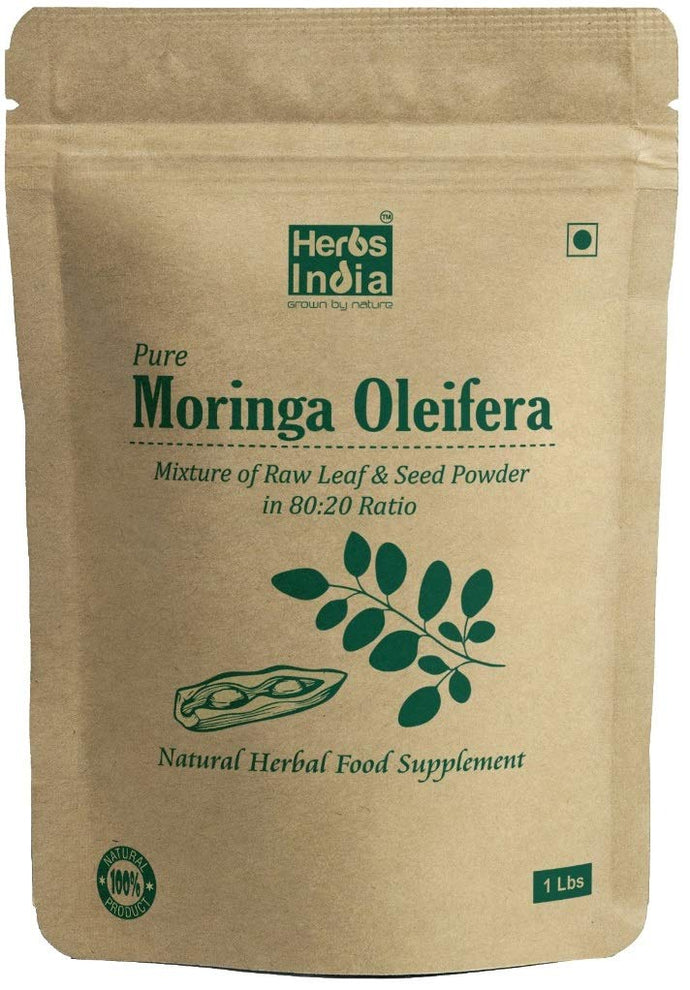 Moringa Seed and Leaf Powder in (20:80) Ratio 1 Pound (450 Grams) - all Natural No Preservative - HerbsIndia
