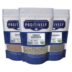 Positively Tea Company, Organic Tea Variety Sampler, Loose Leaf, USDA Organic, 4 Ounce Bags, 3 Pack