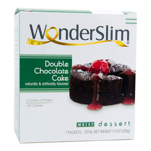 WonderSlim Low-Carb High Protein Dessert / Double Chocolate Cake Mix (7 Servings/Box) - Low Carb, Trans Fat Free 1 Box - 7 Count