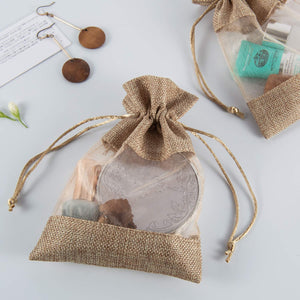 5x7 Inches 10PCS Drawstring Gift Bags, Burlap Bags See Through Window Brown 10pcs