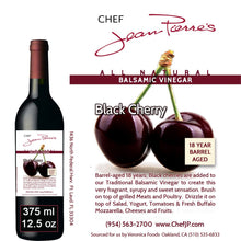 Black Cherry Traditional Barrel Aged 18 Years Italian Balsamic Vinegar 100% All Natural 375ml (12.5oz)