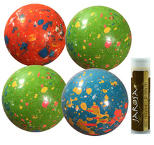 "JUMBO JAWBREAKERS Sconza 2 1/4"" Psychedelic Sours (Wrapped) - 4 Pack (1 lb) with a Jarosa Bee Organic Chocolate Bliss Lip Balm"