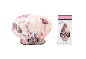 Dry Divas Designer Shower Cap - Washable, Reusable - Bouffant With Vintage Jeweled Brooch (Eiffel In Love With U)