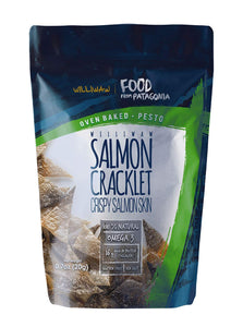 Williwaw Salmon Cracklet Pack – 0.7 oz – Gluten Free High Protein Snacks – Keto Friendly, High in Collagen, Up-Cycling, Crispy, Patagonia – Natural Oven Baked Crackers 4 Pack (Pesto) Pesto