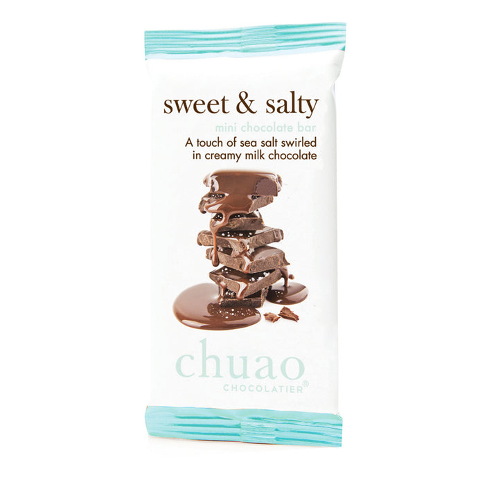 Chuao Chocolatier Sweet & Salty Chocolate Bars 24pk (.39 oz mini bars) - Best-Selling Chocolate Pack - Gourmet Artisan Milk Chocolate - No Artificial Flavors