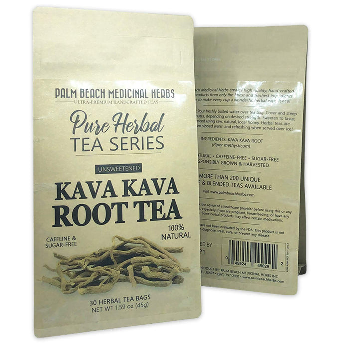 Kava Kava Root Tea - Pure Herbal Tea Series by Palm Beach Herbal Tea Company (30 Tea Bags) 100% Natural