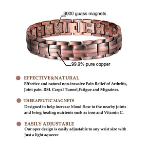 "Copper and Magnetic Bracelet for Men Large Copper Bracelet 8.5"" Adjustable Pain Relief for Arthritis and Carpal Tunnel Migraines Tennis Elbow Copper 1"