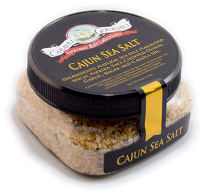 Spicy Cajun Sea Salt - Hand-Harvested Sea Salt with the Authentic Flavors of the South and New Orleans - All-Natural Cooking or Finishing Salt - No Gluten, No MSG, Non-GMO - 4 oz. Stackable Jar Spicy Cajun Single Pack