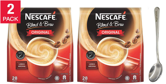 Nescafé 3 in 1 Blend & Brew Original Instant Coffee Sticks - 19g28 Stick Packs, Premix Coffee / LEBIH AROMA Comes with free Inspirations Brand Spoon (2-Pack) 2-Pack