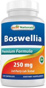 Best Naturals Boswellia Serrata Joint Health 250 mg 120 Capsules - Standardized to 65% Boswellic Acid